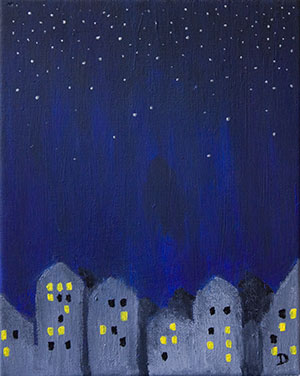 Stars Over City Painting