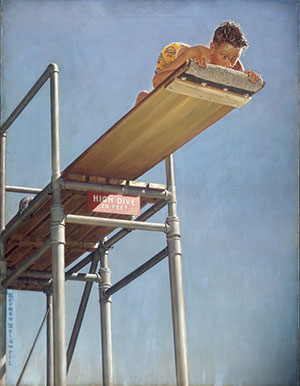 """Boy on High Dive"" Norman Rockwell painting (1947)"