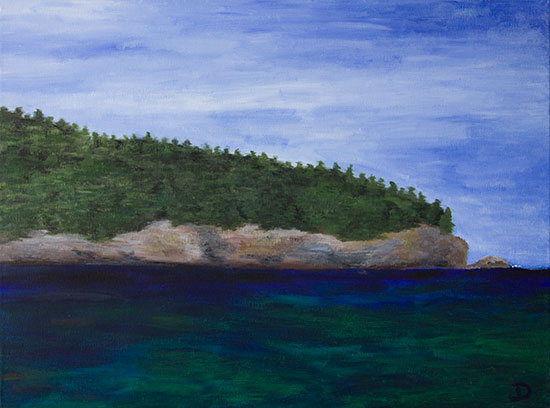 View from Acadia Beach Painting