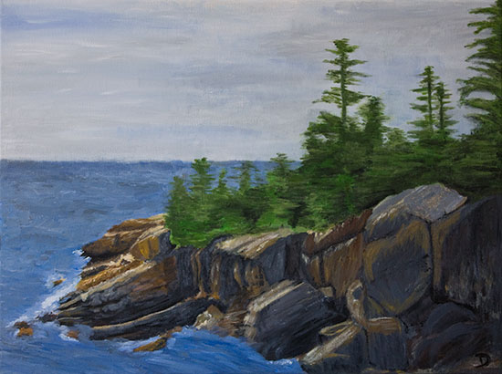 Maine Rocks Trees Ocean Painting
