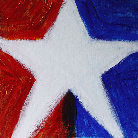 Red, White Star, and Blue painting