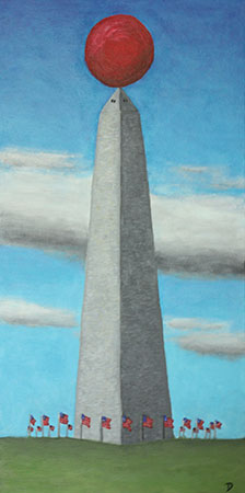 Washington Monument with Red Ball painting