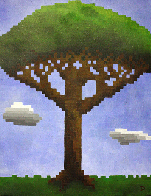 Pixel Tree painting