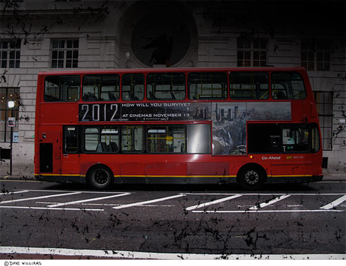 Double Decker  Bus with 2012 Movie Ad