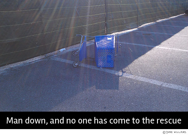 Grocery cart laying down: man down, and no one has come to the rescue