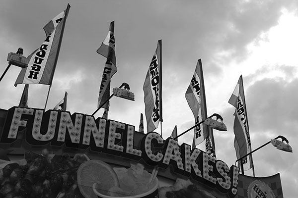 Funnel cakes sign at carnival