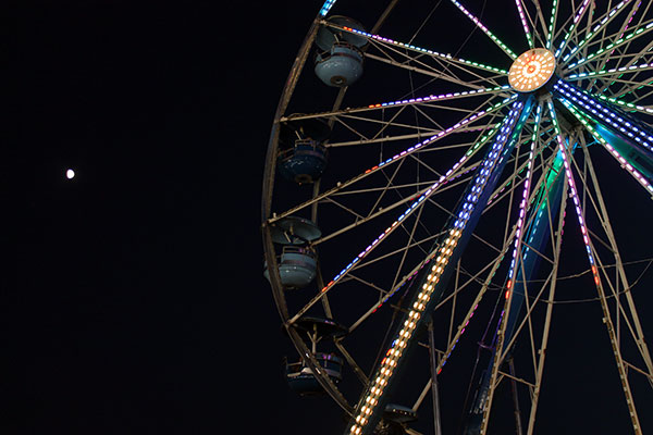 Ferris wheel and moon