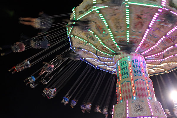Carnival swings at night