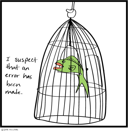 Fish in birdcage cartoon