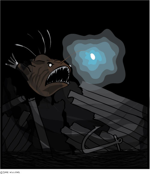 Anger fish explores a shipwreck in the deep sea