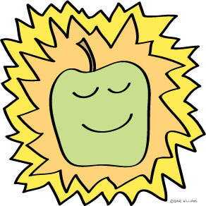 Illustration of a green apple that's happy and glowing