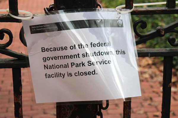 Federal government shutdown closed sign