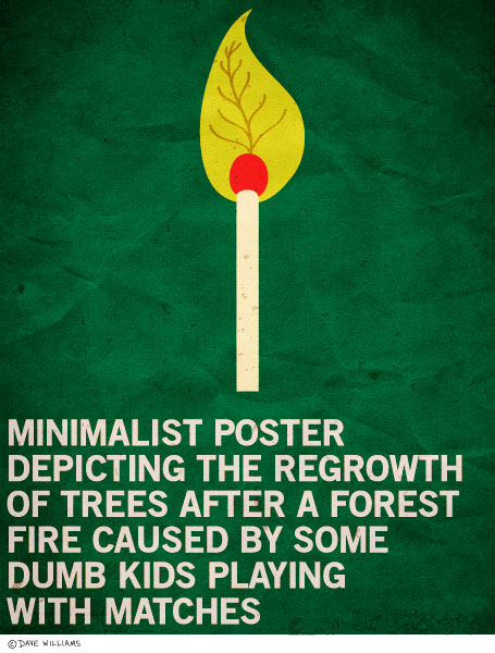 Minimalist poster of regrowth of trees after forest fire
