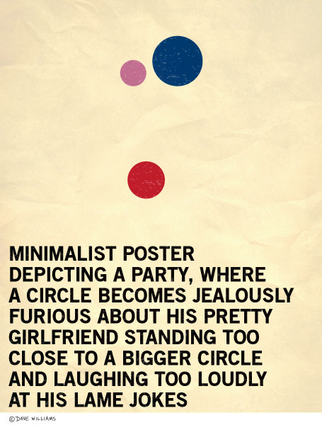Minimalist poster of a circle at a party jealous of another circle