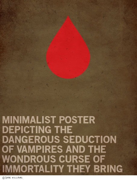 Minimalist poster of the dangerous seduction of vampires