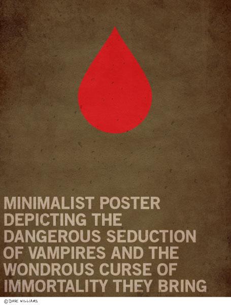 Minimalist poster of the dangerous seduction of vampires