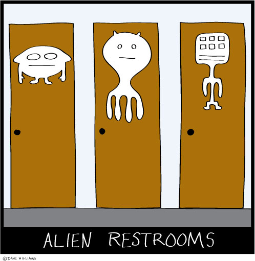 Three restroom doors showing illustrations of aliens