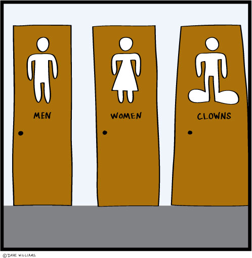 Restroom doors -- for men, women, and clowns