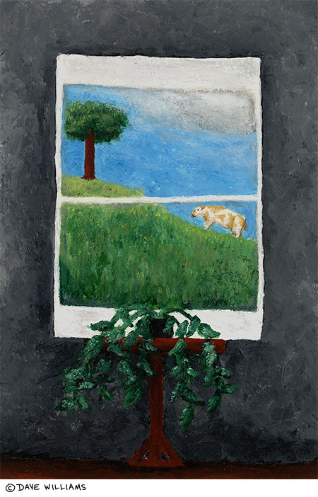 A pleasant day outside painting, of houseplant and window showing grass, cow, and tree outside