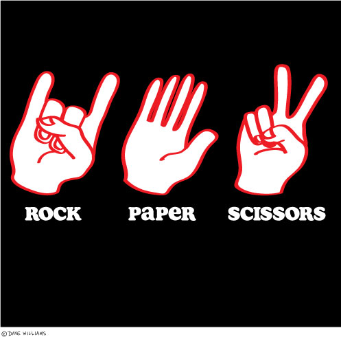 Rock paper scissors - with rock being devil horns gesture for rock music