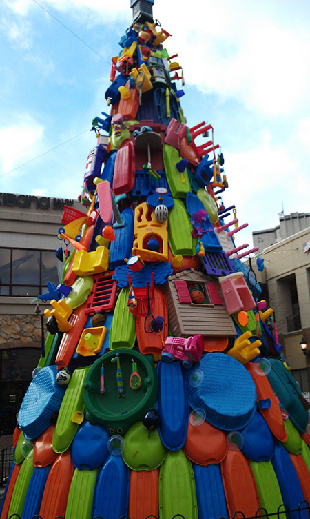 Silver Spring Christmas tree made of toys