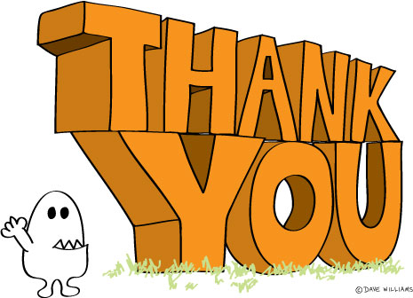 A big thank you of hand-drawn type