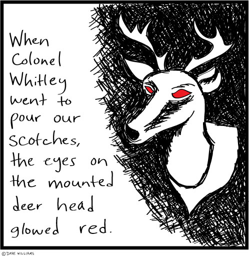 Cartoon about a deer head's eyes glowing red
