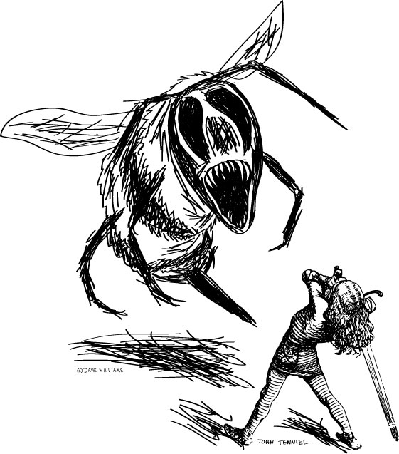 Swordsman from John Tenniel's Jabberwocky illustration and Bumble bee sketch