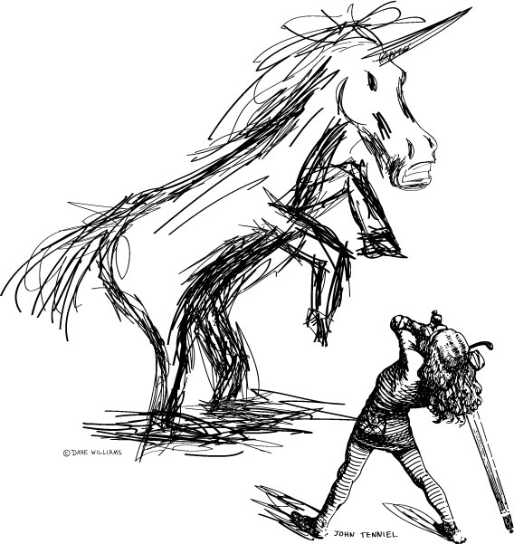 Swordsman from John Tenniel's Jabberwocky illustration and with unicorn sketch