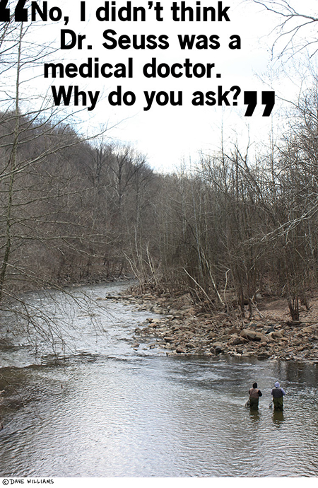 Photo of two guys fishing, with the caption of them talking about Dr. Seuss